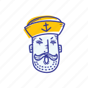 captain, emoticon, face, marine, ocean, sailor, yelling icon
