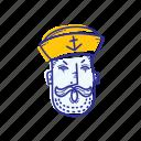 captain, emoticon, face, marine, ocean, sailor, yelling