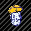 captain, emoticon, face, marine, ocean, sad, sailor