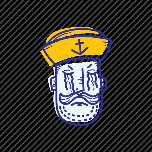 captain, emoticon, face, marine, ocean, sad, sailor icon