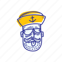 captain, emoticon, face, marine, mock, ocean, sailor icon