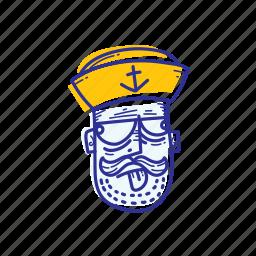 captain, emoticon, face, marine, mock, ocean, sailor icon