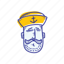 captain, emoticon, face, marine, ocean, sailor, whistle icon
