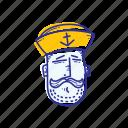 captain, emoticon, face, marine, ocean, sailor, whistle
