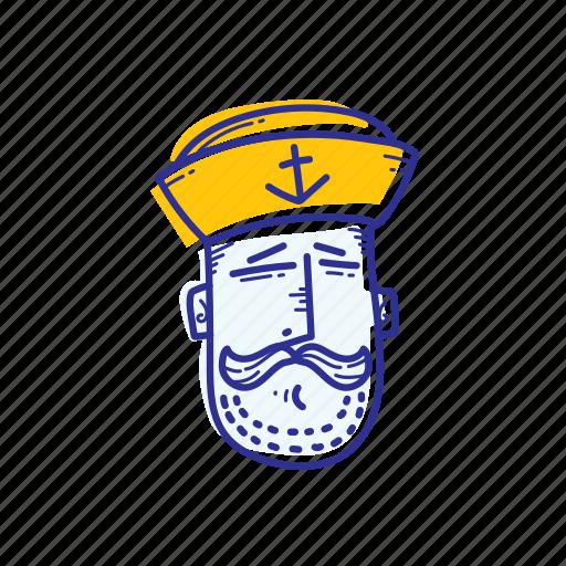 captain, emoticon, face, marine, ocean, sailor, whistle icon