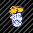 angry, captain, emoticon, face, marine, ocean, sailor