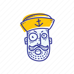 angry, captain, emoticon, face, marine, ocean, sailor icon