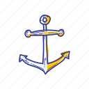 anchor, beach, ocean, sea, ship, water icon