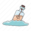 bottle, bottle in the water, sea, wine icon