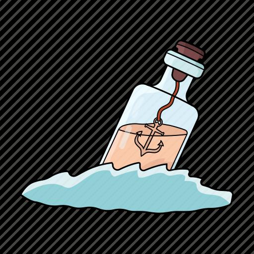 bottle, bottle in the water, sea, wine icon