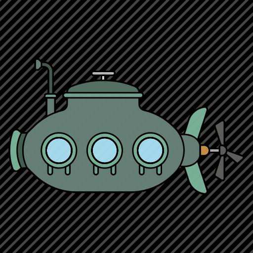 Boat, sea, submarine, swim under the sea icon - Download on Iconfinder
