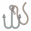 fish, hook, rope, sea icon