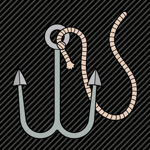 fish, hook, rope, sea icon