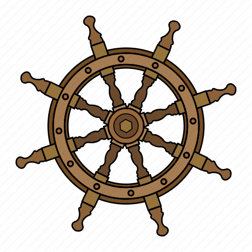 control, helm, rule, ship icon