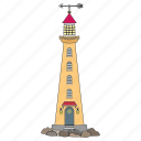 coast, light, lighthouse, shine icon