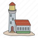 island, light guide, lighthouse, sea icon