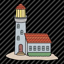 island, light guide, lighthouse, sea icon