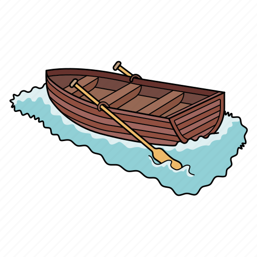board, ocean, row, ship icon