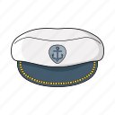 board, captain hat, captain of ship, sea icon