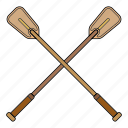 oars, paddle, row, wooden oar icon