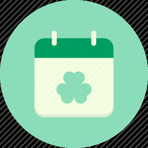 calendar, date, day, festival, patricks, saint, shamrock icon