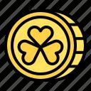 coin, festival, ireland, saint patrick, shamrock icon