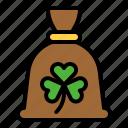 bag, festival, money bag, saint patrick, shamrock icon