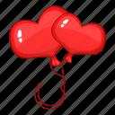 balloon, heart, love, red