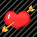 arrow, heart, red, valentine