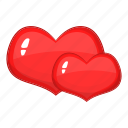 hearts, love, red, two