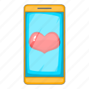 heart, mobile, phone, screen icon