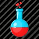 flask, fluid, heart, love