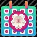 blossom, calendar, cherry, date, festival, flower, sakura icon