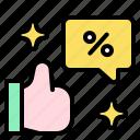 thumb, up, discount, good, hand, sales