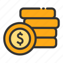 coin, money, online, sales, shop, stack icon
