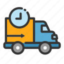 cargo, delivery, online, process, sales, shop, van icon