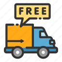 car, courier, delivery, free, sales, shop, van icon