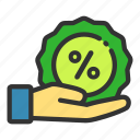 discount, giving, hand, online, sales, shop icon