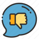 balloon, chat, down, online, sales, shop, thumbs icon