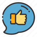 balloon, chat, online, sales, shop, thumbs, up icon
