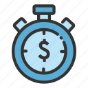 money, online, sales, shop, stopwatch, timer icon