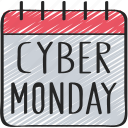 black friday, calendar, cyber, cyber monday, date, monday, sales icon