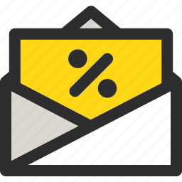 discount, email, envelope, letter, mail, message, sale icon