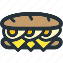 bread, breakfast, cheese, egg, eggs, long, sandwich icon