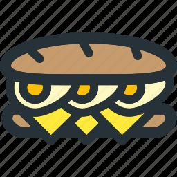 bread, breakfast, cheese, egg, eggs, long, sandwich icon