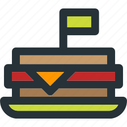 cheese, fastfood, flag, food, sandwich, toast icon