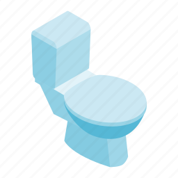 bathroom, bowl, isometric, restroom, seat, side, toilet icon