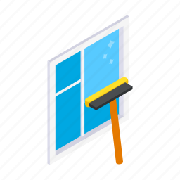 clean, cleaner, dirty, glass, isometric, mop, window icon