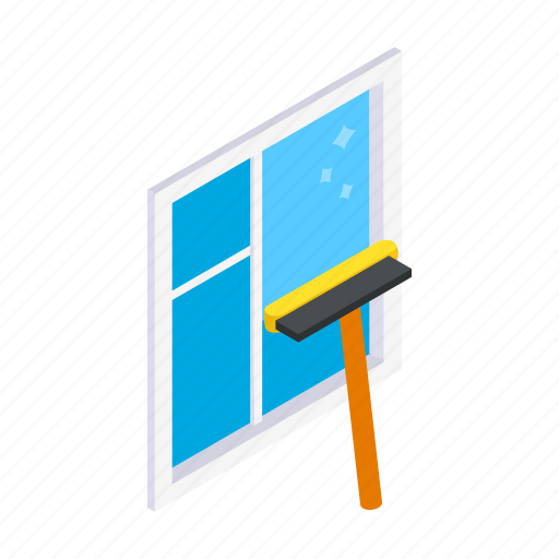 Clean, cleaner, dirty, glass, isometric, mop, window icon - Download on Iconfinder