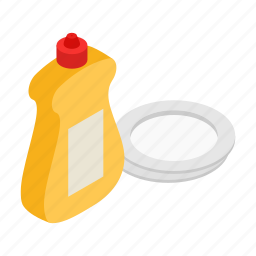 bottle, clean, detergent, liquid, plate, soap, washing icon